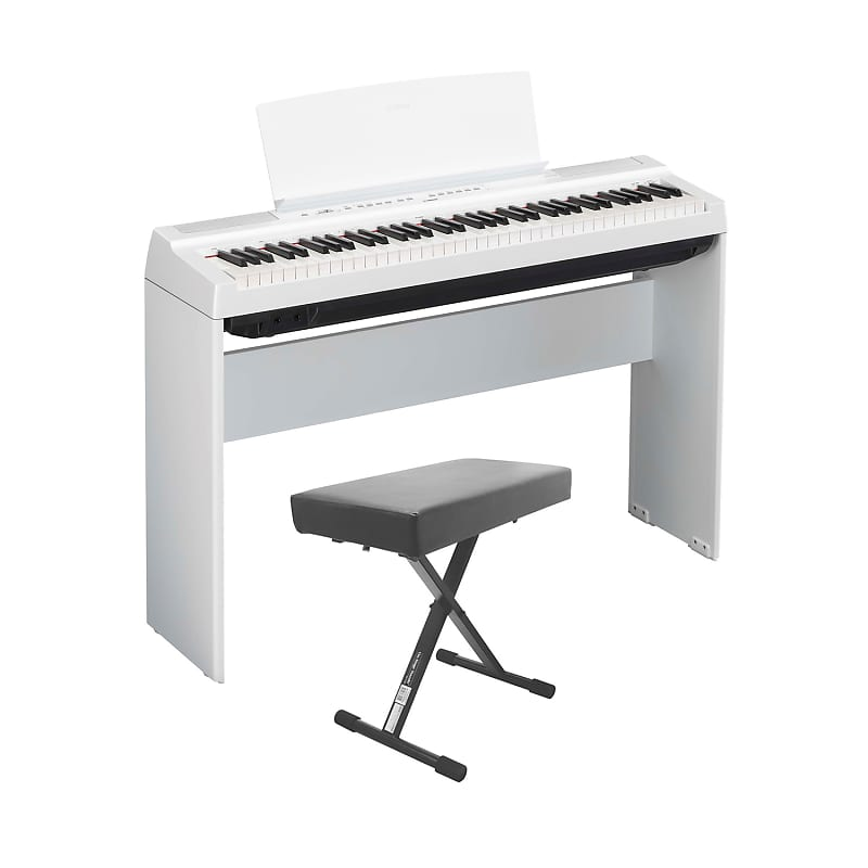 yamaha p121 73 key weighted action digital piano white with reverb. Black Bedroom Furniture Sets. Home Design Ideas
