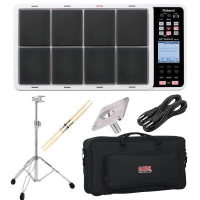 Roland OCTAPAD SPD-30 White - GATOR GK-2110 - GIBRALTAR 6713E Stand and SC-EMMP - (2) 1/4 Cables