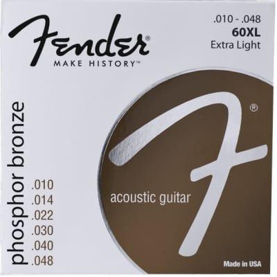 Fender® Phosphor Bronze Acoustic Guitar Strings, Ball End, 60XL .010-.048 Gauges, (6) - Default title