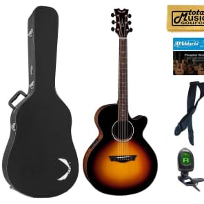 Dean Performer Plus Acoustic Electric Guitar, Tobacco Sunburst, PE PLUS TSB HSBKPACK Black Case Bundle for sale