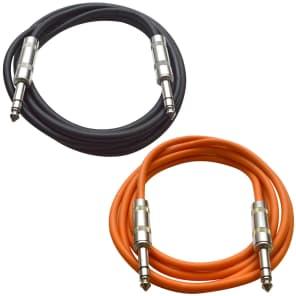 """Seismic Audio SATRX-6-BLACKORANGE 1/4"""" TRS Patch Cables - 6' (2-Pack)"""