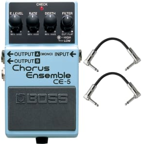 Boss CE-5 Chorus Ensemble Guitar Effects Pedal Stompbox Footswitch + Cables