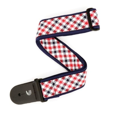 "D'Addario/Planet Waves 2"" Gingham Woven Guitar Strap, Red and Navy - Red & Navy / New"