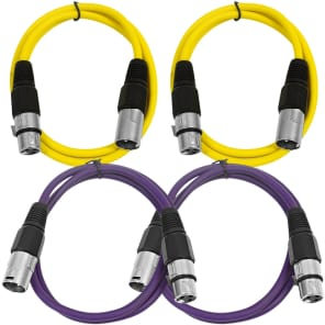 Seismic Audio SAXLX-3-2YELLOW2PURPLE XLR Male to XLR Female Patch Cable - 3' (4-Pack)