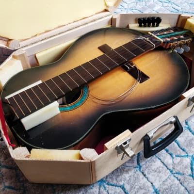 Daniel Slaman 2006 Classical Nylon String Travel Guitar  (with turquoise inlays) for sale