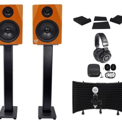 """2 Rockville DPM5C 5.25"""" 300w Active Studio Monitors+ Stands+Headphones+Mic+Shield"""