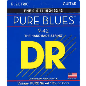 DR PHR-9 Pure Blues Pure Nickel Electric Guitar Strings 9-42 2 PACKS