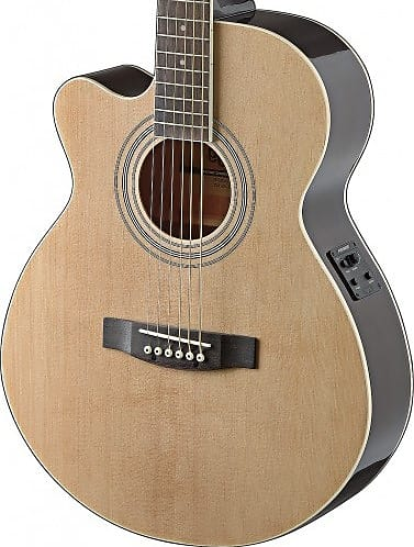 Stagg Mini Jumbo Left Hand Acoustic Electric Guitar Natural W/ Fishman Pickups Acoustic Electric Guitars