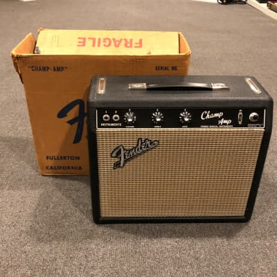 1965 Fender Champ and shipping box