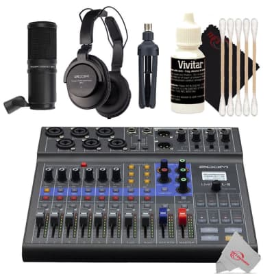 Zoom LiveTrak L-8 Portable Podcast 8-Track Digital Mixer And Multitrack Recorder + Zoom ZDM-1 Podcast Mic Pack Accessory Bundle With Microphone, Headphones, Tripod, Windscreen & Cable + 3pc Cleaning Kit