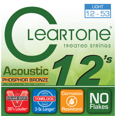 Cleartone 7412 Acoustic Guitar Strings Phosphor Bronze Light Coated Set 12-53