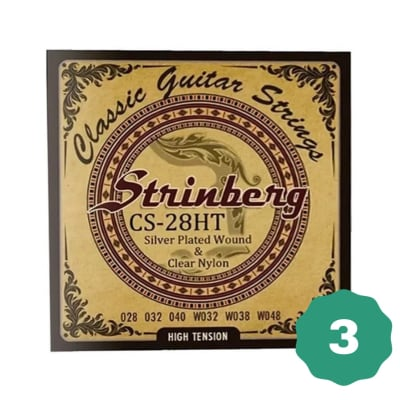 New Strinberg CS-28HT Silver Plated Wound Clear Nylon 6-String Classical Guitar Strings (3-PACK)