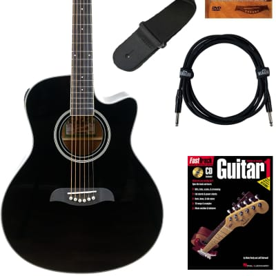 Oscar Schmidt OA10CE Mini Auditorium Cutaway Acoustic-Electric Guitar - Black Bundle with Cable, Tuner, Strap, Picks, Instructional Book, DVD, and Austin Bazaar Polishing Cloth for sale
