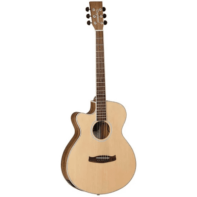 Tanglewood DBT-SFCE-PW-LH Discovery Spruce/Pacific Walnut Super Folk Cutaway with Electronics Left Handed Natural Open Pore Satin