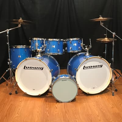 Ludwig Ludwig Element Evolution 7 Piece Double Bass Drum Set- ZBT Cymbals- Blue Sparkle
