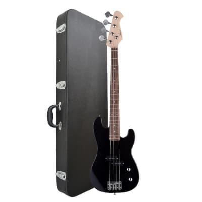 Artist PB34 3/4 Black Electric Bass Guitar + Accessories + Hard Case for sale