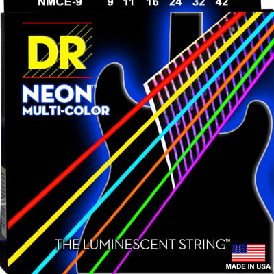 DR NMCE-9 NEON Multi-Colored Electric Guitar Strings - Light (09-42)