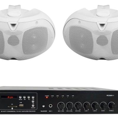 """Rockville Commercial Amplifier+2 Dual 4"""" 70v White Patio Speakers For Restaurant"""