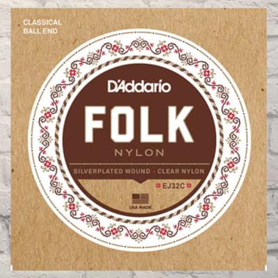 D'Addario EJ32C Folk Nylon Ball End Classical Guitar Strings 13-56