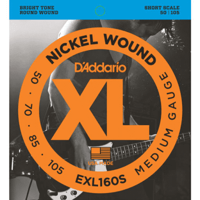 D'Addario EXL160S Nickel Wound Bass Short Short Scale Strings 50-105