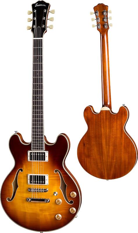 Eastman T184MX-GB Thinline Double Cutaway Hollow Body Electric Guitar Gold Burs