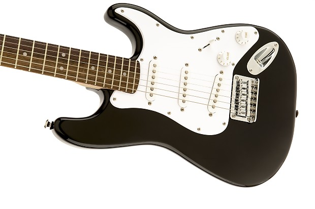 squier by fender mini strat electric guitar black w tuner reverb. Black Bedroom Furniture Sets. Home Design Ideas