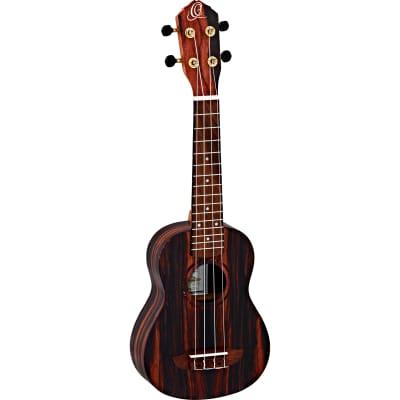 Ortega Ebony Series RUEB-SO soprano ukulele with gig bag for sale