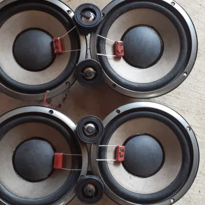 """6.5"""" INFINITY SPEAKERS LOT OF 4 WITH ALUMINUM EYE VALL TWEETERS AND MYLAR FILM CAPACITORS /CROSSOVERS 6.5"""""""