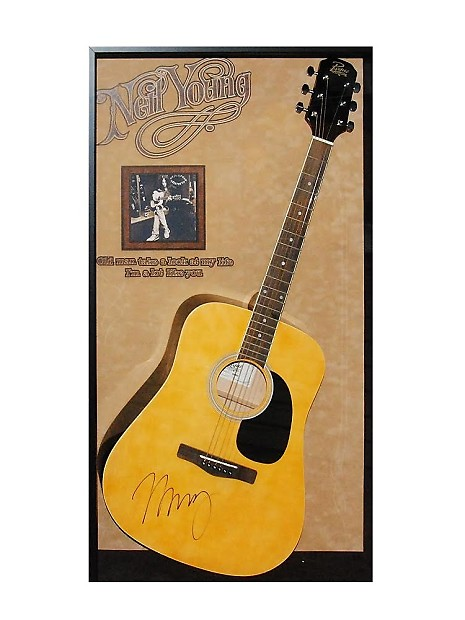 neil young autographed acoustic guitar signed in framed reverb. Black Bedroom Furniture Sets. Home Design Ideas