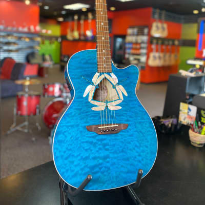Luna Fauna Series Dragonfly Quilted Maple Cutaway w/ Fishman Presys II Trans Teal for sale