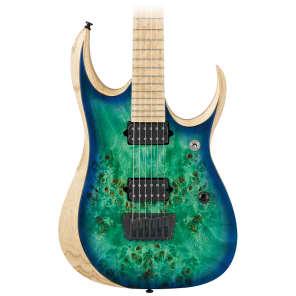 Ibanez RGDIX6MPB-SBB RGD Iron Label Deluxe Series HH Deep Cutaway Poplar Burl Top Electric Guitar Surreal Blue Burst w/ Maple Fretboard