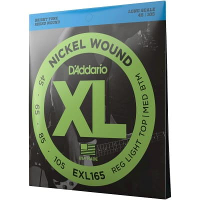 D'Addario EXL165 Custom Light, Nickel Wound Bass Strings, 45-105