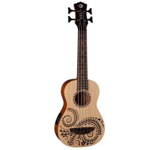 Luna Bass Tattoo Spruce Ukulele w/Preamp & Gig Bag for sale
