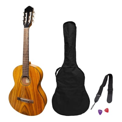 Martinez 'Slim Jim' 3/4 Size Student Classical Guitar Pack with Built In Tuner (Koa) for sale