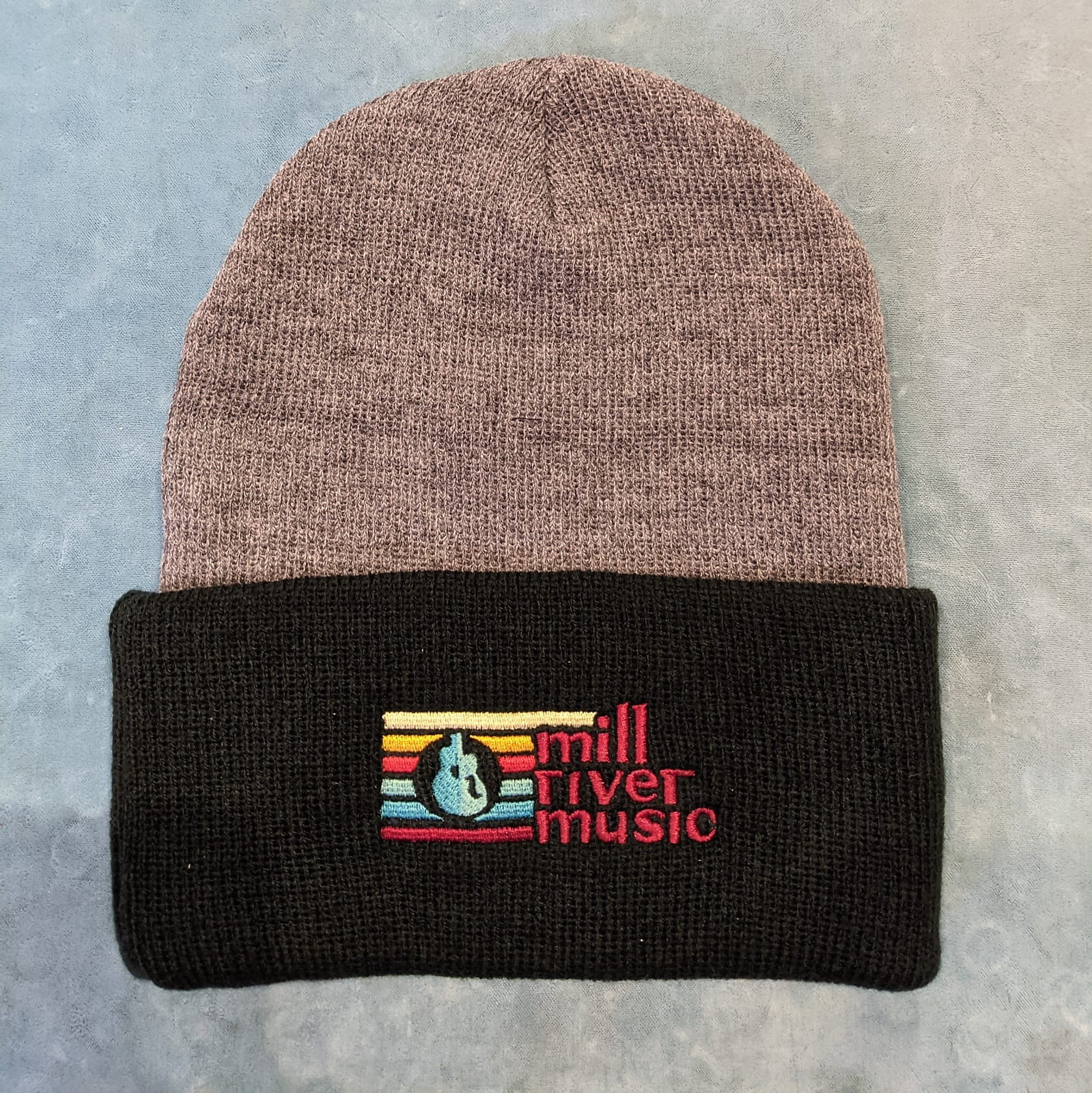 Mill River Music Embroidered Cuff Beanie 1st Ed Main Logo Ath Heather & Black
