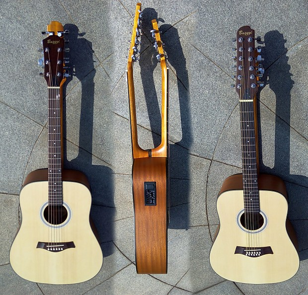 12 6 string double neck acoustic electric busuyi guitar reverb. Black Bedroom Furniture Sets. Home Design Ideas