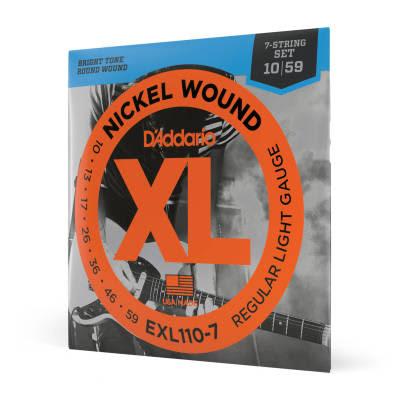 D'Addario EXL110-7 7-String Nickel Wound Regular Light Electric Guitar Strings, 10-59 Nickel