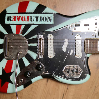 Skullcat Guitars #8 REVOLUTION Jaguar Stencil Punk Guitar