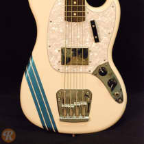 Fender Pawn Shop Mustang Bass 2010s Olympic White with Competition Stripe image