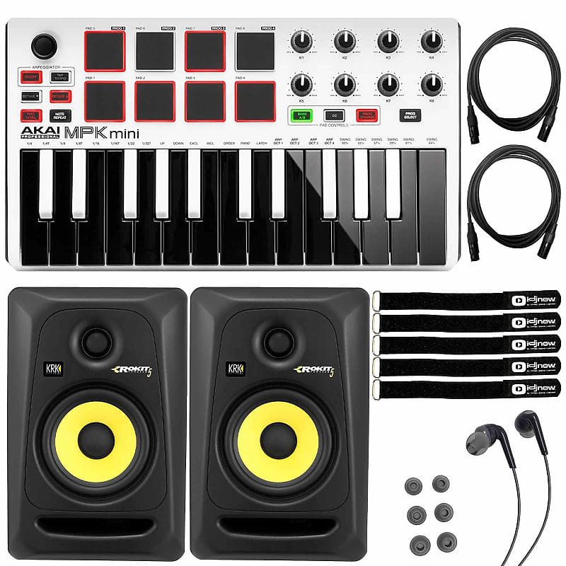 krk rokit rp5g3 5 studio monitors akai mpk mini mkii reverb. Black Bedroom Furniture Sets. Home Design Ideas