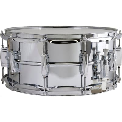 "Ludwig LB402B Supraphonic Smooth Chrome Plated Brass Snare Drum,  6.5"" X 14"""