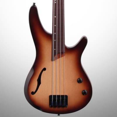 Ibanez SRH500F-NNF Bass Workshop Fretless Semi-Hollow Bass Natural Browned Burst Flat