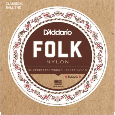D'Addario EJ32C Folk Nylon Ball End Silver Wound/Clear Nylon Trebles