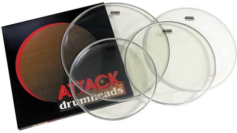 attack 4pc drum head pack clear 12 13 16 w coated 14 reverb. Black Bedroom Furniture Sets. Home Design Ideas