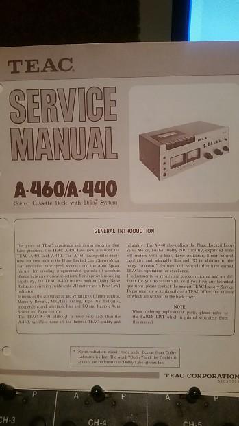 Teac A460/A440 Cassette Deck Service Manual 1976