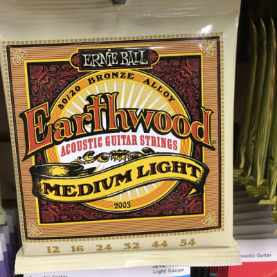 Ernie Ball 2003 Earthwood Medium-Light 80/20 Bronze Acoustic Guitar Strings, .012 - .054