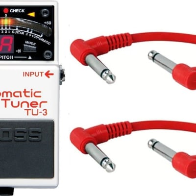 Boss TU-3 Chromatic Tuner Pedal TU3 + 2 Patch Cables for sale