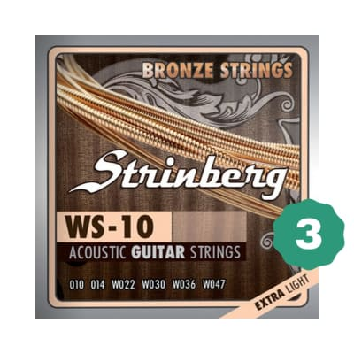 New Strinberg WS-10 Extra Light Bronze Acoustic Guitar Strings (3-PACK)