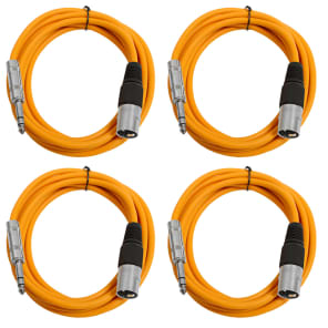 """Seismic Audio SATRXL-M10-4ORANGE 1/4"""" TRS Male to XLR Male Patch Cables - 10' (4-Pack)"""