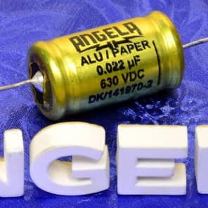 One Jensen Angela .022uF 630VDC Aluminum Foil Paper In Oil Signal Capacitor With Solid Silver Leads